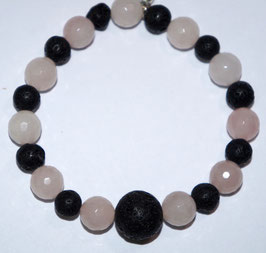 Handmade rose quarts and lava bracelet
