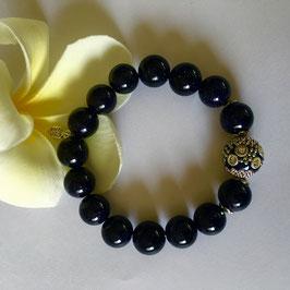 Handmade blue goldstone bracelet, 19 cm