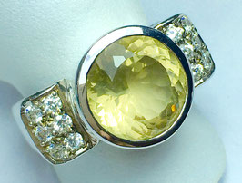 CUSTOM MADE ring with beautiful lemon quartz and diamonds (cz)