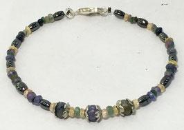 Handmade bracelet with sapphire, emerald and hematite beads, 19 cm