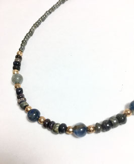 One of a kind handmade necklace with sapphires and pyrites