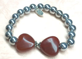 Handmade bracelet with hematite and carnelian beads, 18 cm