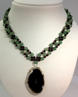 Handmade necklace wth aventurine and garnet beads with agate pendant