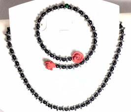 Handmade necklace and bracelet with hematite  beads
