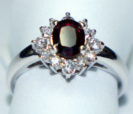 Ring    Garnet and CZ Diamonds