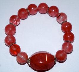 Handmade cherry quartz bracelet
