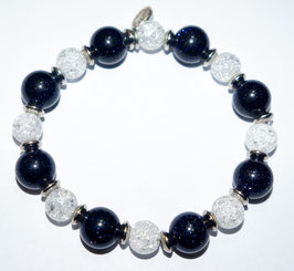 Handmade blue goldstone and crystal bracelet