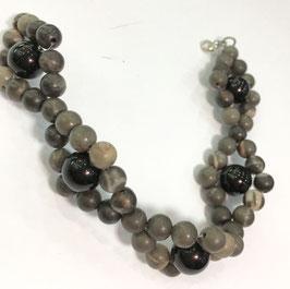 Handmade jasper and onyx bracelet
