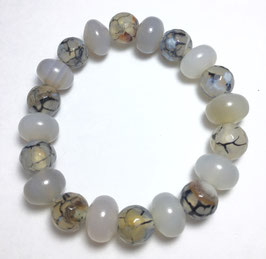 Handmade bracelet with agate and dragon vein agate beads
