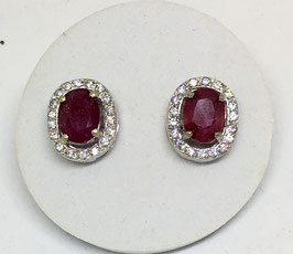 Studs with ruby, 2,65 ct. and CZ