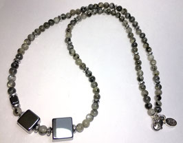 Necklace with labradorite, pyrite and hematite beads