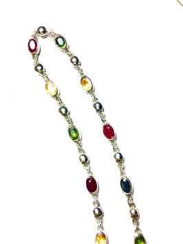 Necklace with rubies and sapphires