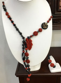 Necklace with lava, cinnabar, Pyrite, Howlite, hematite and agate beads