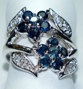 Ring   12  Sapphires and 8 CZ Diamonds
