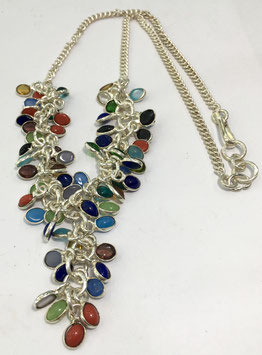 Silver necklace with div. gems stones