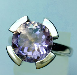 CUSTOM MADE ring with amethyst and CZ . diamonds
