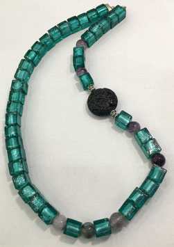 Handmade necklace with lava, fluorite and glass stones