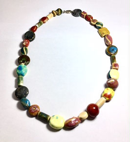 handmade necklace with ceramic beads