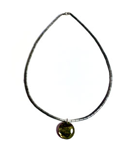 Handmade hematite necklace with labradorite pendant