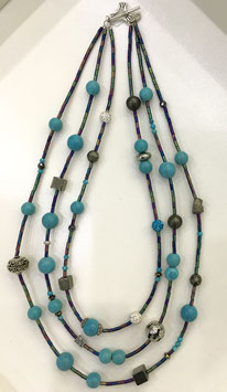 Handmade necklace with howlite, Pyrite and hematite beads