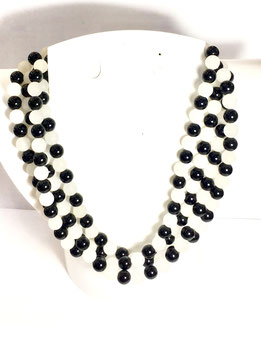 One of a kind handmade necklace with frozen jade and agate beads