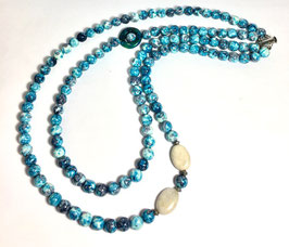 One of a kind handmade necklace with jade beads