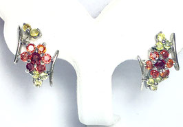 Earrings with fancy sapphires and peridots