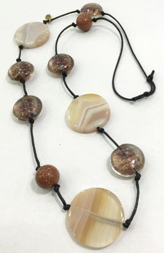 Agate and goldstone necklace