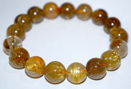 Handmade bracelet with gold rutile quartz beads