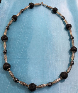 necklace with lava and hematite beads