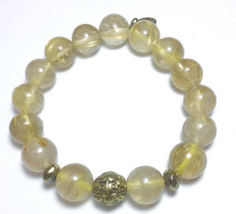 Handmade bracelet with rutile quartz beads