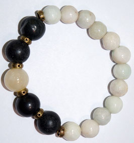 Handmade bracelet with black and white jade beads