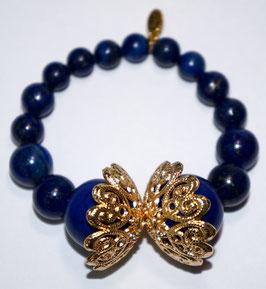 Handmade lapis lazuli and howlite bracelet