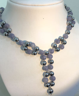 Handmade aquamarine and hematite necklace