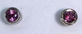 Studs with rhodolite, 0,65  ct.
