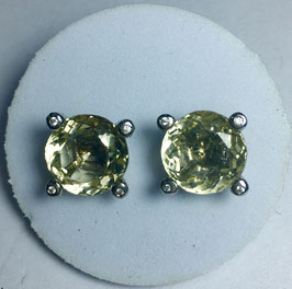 Studs with lemon quartz, 8,3 ct.