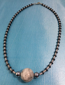 Hematite necklace with rutile quartz bead