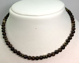 Necklace with bronsite and pyrite beads