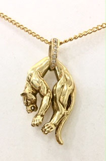 Panther pendant 18 ct. gold with 7 real diamonds
