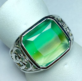 Ring with chalcedony, bicolor, 3,55 ct.