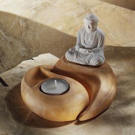 Teelichthalter Yin Yang mit Buddha weiß-apricot