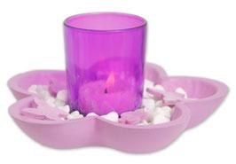 Teelichthalter-Set lila Blüte