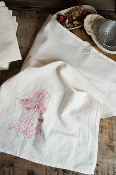 tea towel - pink mushroom embroidery