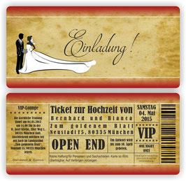 HO-002 Einladungskarte - Ticket Brautpaar