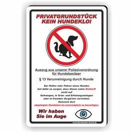 T-001 Prvatgrundstück kein Hundeklo mit Gesetz
