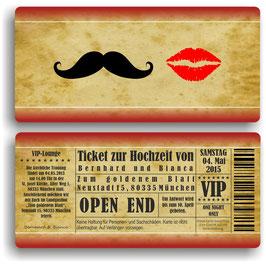 HO-009 Einladungskarte - Schnurrbart und Kussmund