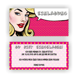 EI-035 Einladungskarte - PIN UP GIRL