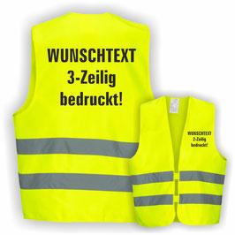 Warnweste GELB DIN EN 471 WUNSCHTEXT 3-Zeilig