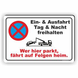 PV-016 Parkverbotschild Ein- & Aufhart - fährt auf Felgen geim