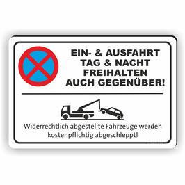 PV-023 Parkverbotschild Ein- & Ausfahrt - Auch Gegenüber